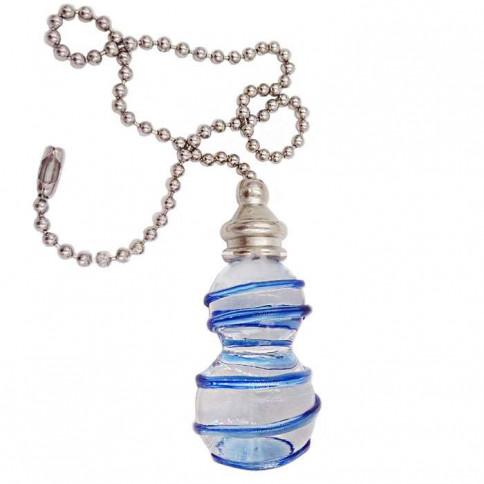 Pendentif Vireligne en verre et liseret bleu