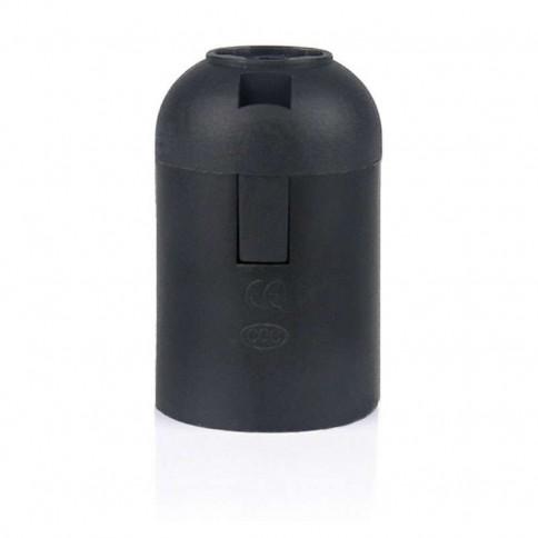 Douille à culot E27 en plastique lisse noir pour ampoule