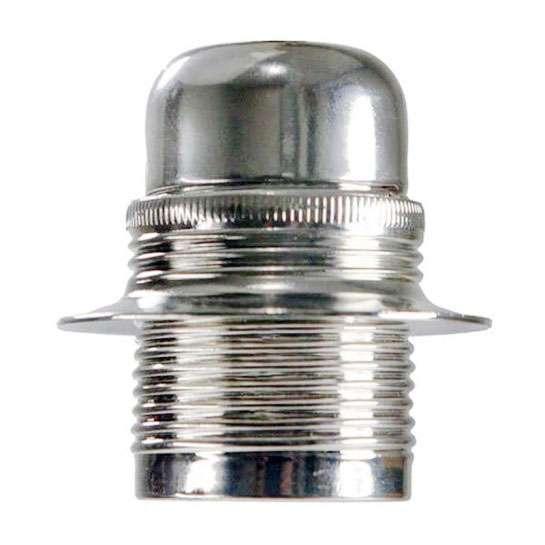 Douille à vis E27 en acier finition chromé gris