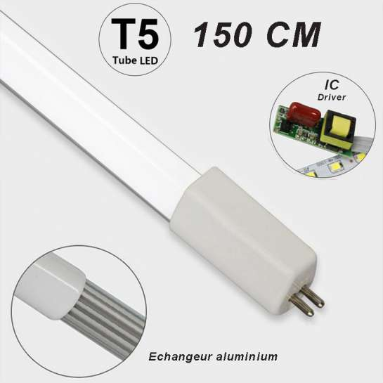 Tube LED T5 150 LED SMD 2835 longueur 1500 mm