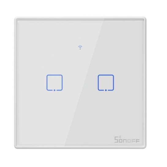 Bouton interupteur tactile 2 boutons Sonoff programmable avec contôle Wifi Smart phone ou tablette