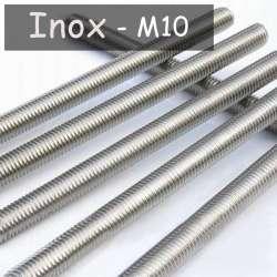 Tube fileté en acier inoxydable M10 au pas de 1mm