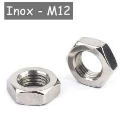écrou bas en acier inoxydable pour tube M12 au pas de 1mm