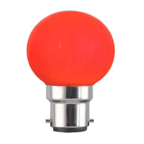 Ampoule sphérique G45 culot B22 couleur rouge 230 volts