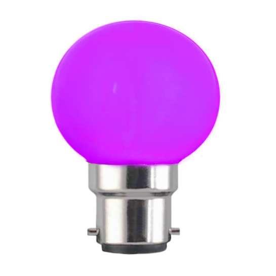 Ampoule sphérique G45 culot B22 couleur violet 230 volts