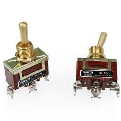 Interrupteur à levier ou à bascule On / Of / On double circuits avec trois borniers à vis