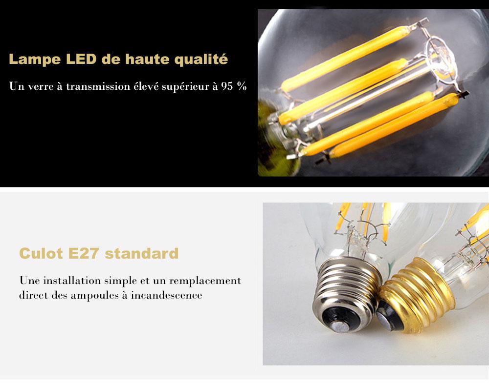 ampoule led sph rique 6 watts a60 culot e27 six filaments led verre ambr. Black Bedroom Furniture Sets. Home Design Ideas