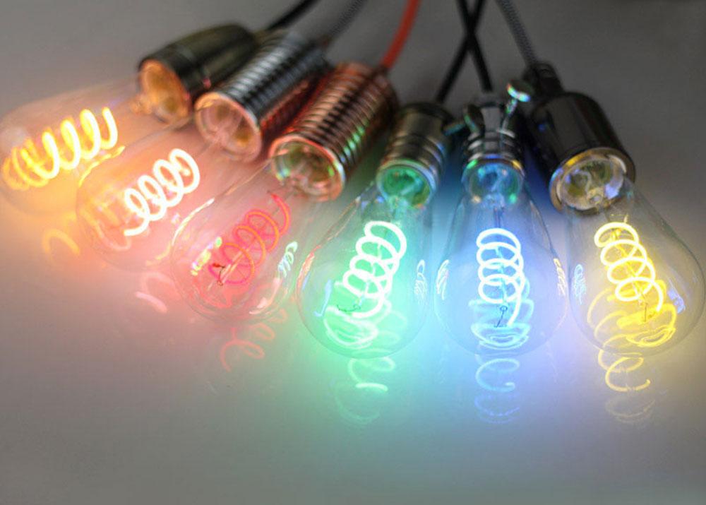 ampoule led en format st64 filament twisted couleur 6 watts culot e27. Black Bedroom Furniture Sets. Home Design Ideas