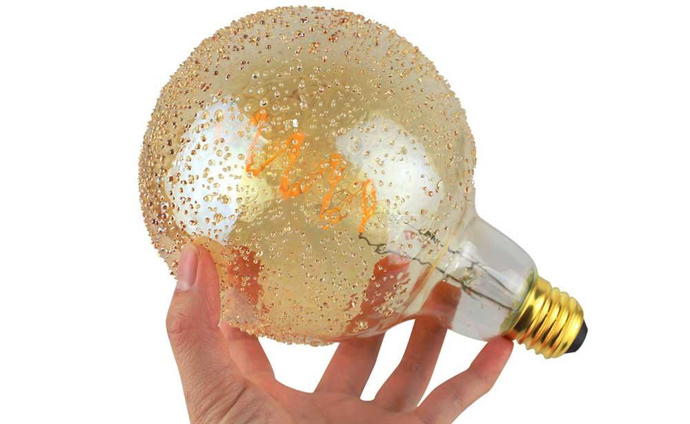 Ampoule filament LED G125 verre ambré perlé
