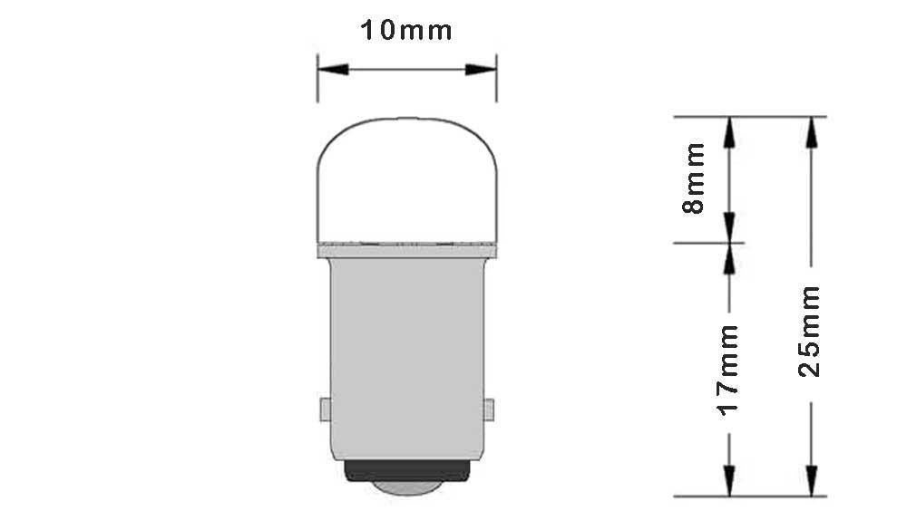 Ampoule LED à culot BA9S pour armoire électrique dimension