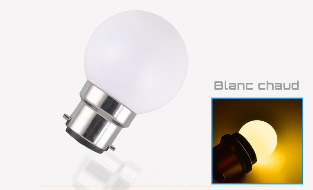 Ampoule LED sphérique G45 à culot B22 couleur d'éclairage blanc chaud