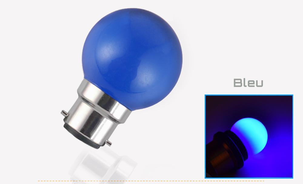 Ampoule LED sphérique G45 à culot B22 couleur d'éclairage bleu