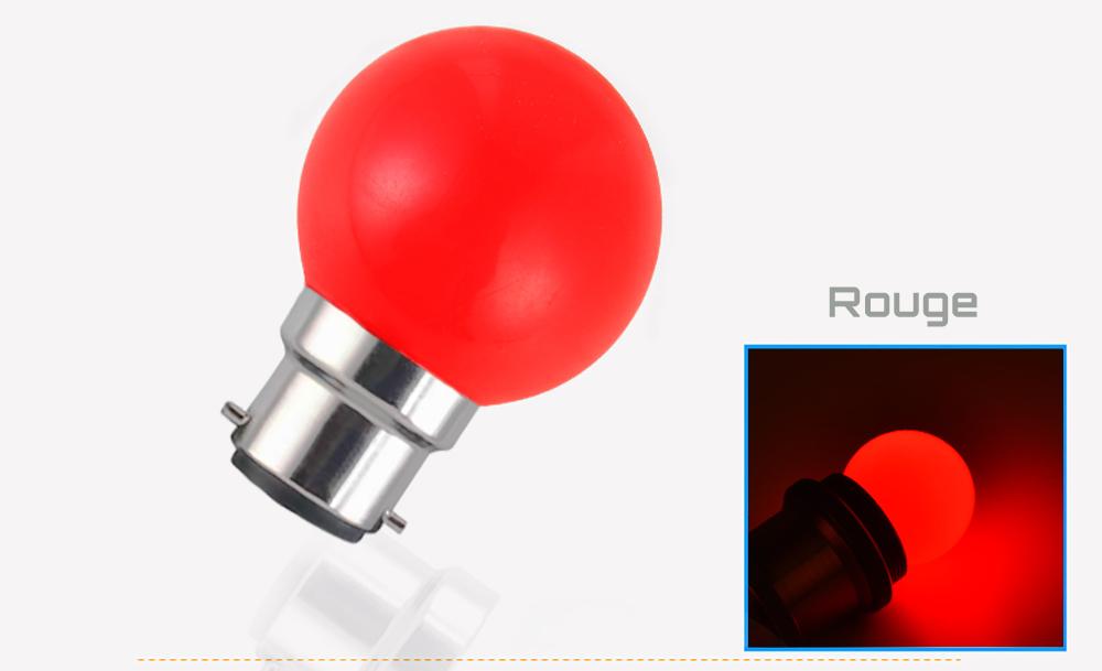 Ampoule LED sphérique G45 à culot B22 couleur d'éclairage rouge