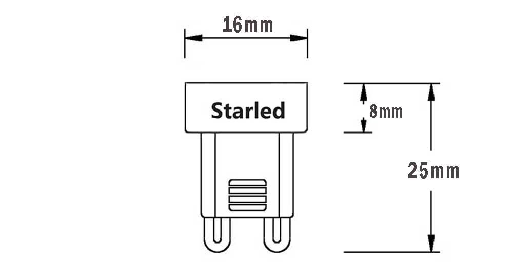 Ampoule LED G9 ISA dimension
