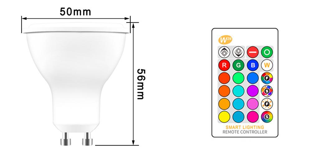 Ampoule LED RGB-W GU10 de 5 watts dimension