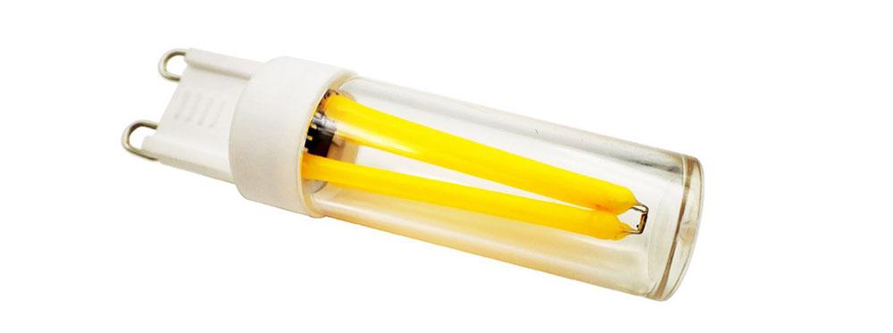 Ampoule LED G9 équipée de quatre filaments LED - dimmable 4 watts en 230 Volts