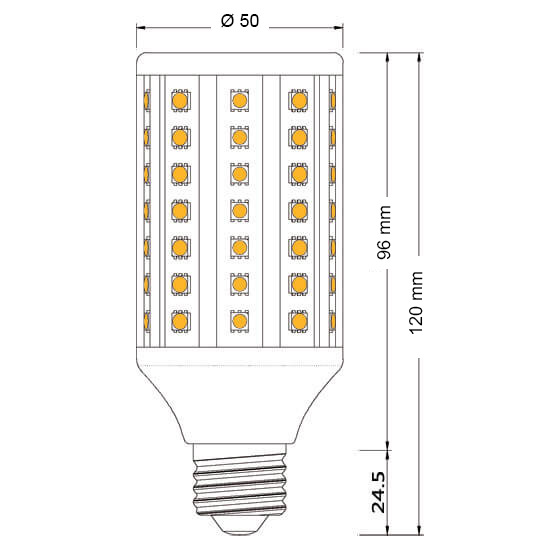 Ampoule LED maïs E27 AC / DC 10 à 60 Volts 12 Watts Epistar 60 SMD