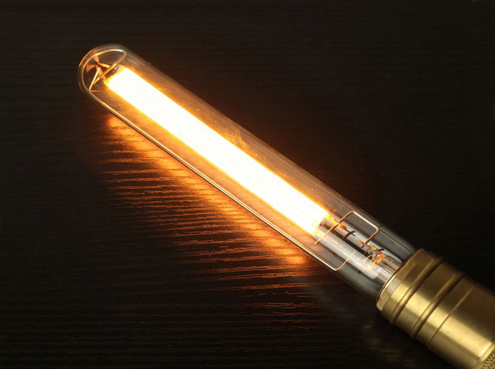 Lampe tube T30 filament LED large COG 8 watts longueur 150mm diametre 30mm culot E27
