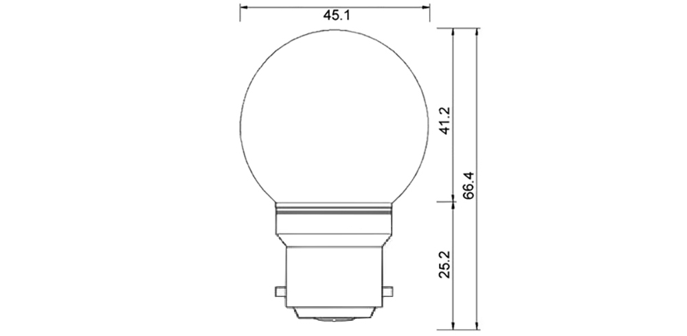 Ampoule LED sphérique G45 à culot B22 couleur dimension