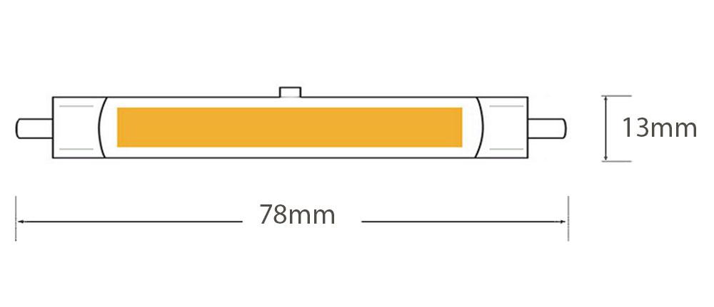Ampoule LED R7s Ø13mm - LED linear COB dimmable * 78mm dimension