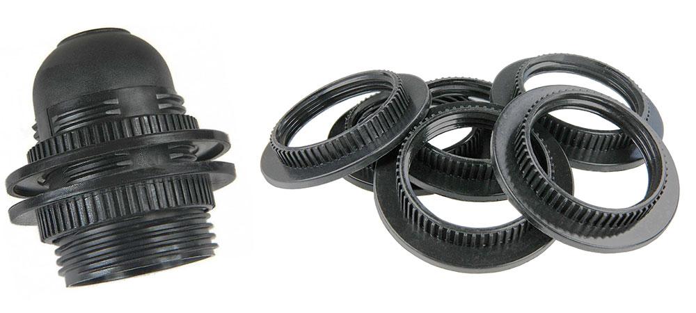 bague écrou pour douille E27 couleur noir