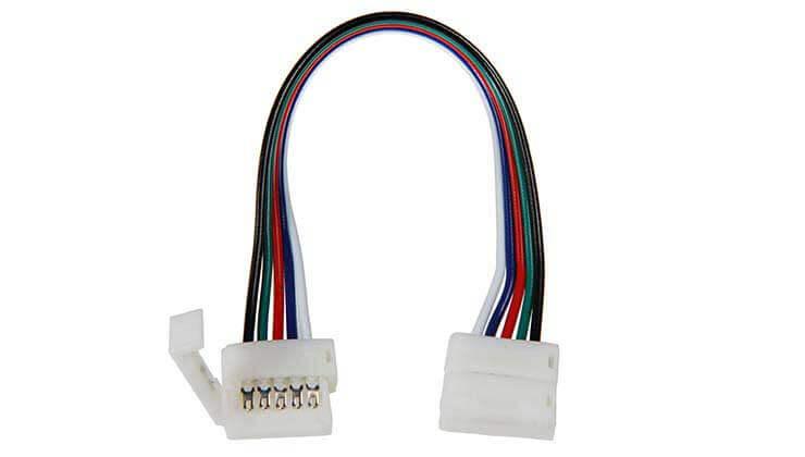 Deux boitiers de raccordement Clips-connect sur câbles pour Strips LEDs RGB W
