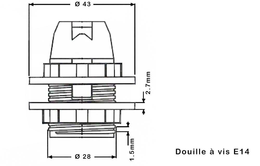 bague pour douille in E14 blanc dimension