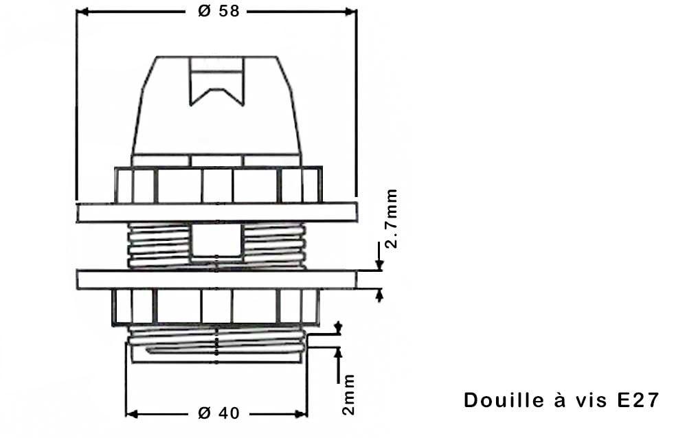 bague plastique blanc pour douille E27 dimension