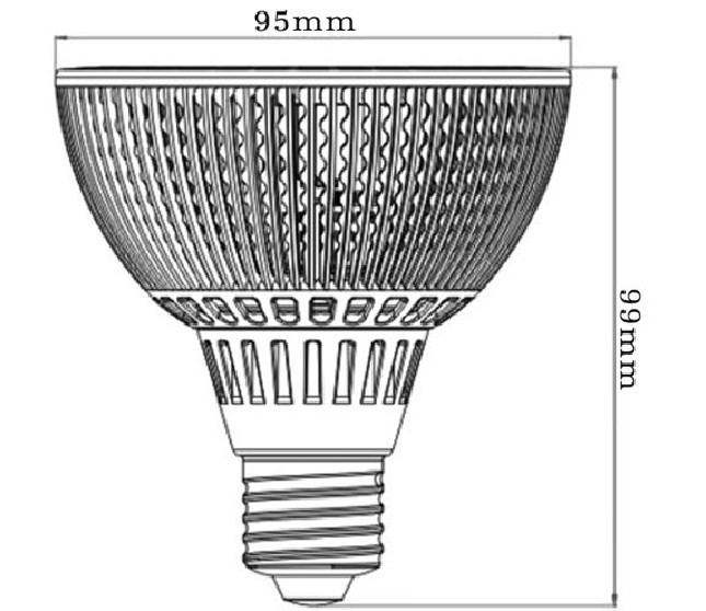 Dimention-E27-PAR30-7LED