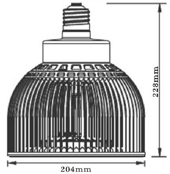Dimention-E27-PAR64-60LED