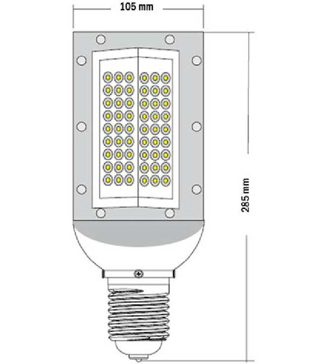 Dimention-lampe-LED-E40-100watts-230volts
