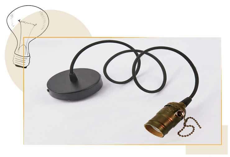 Douille E27 bronze Oxyde brun avec interrupteur à chaInette