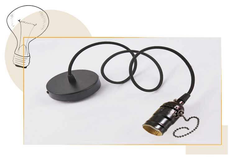 Douille E27 bronze noir avec interrupteur à chaInette