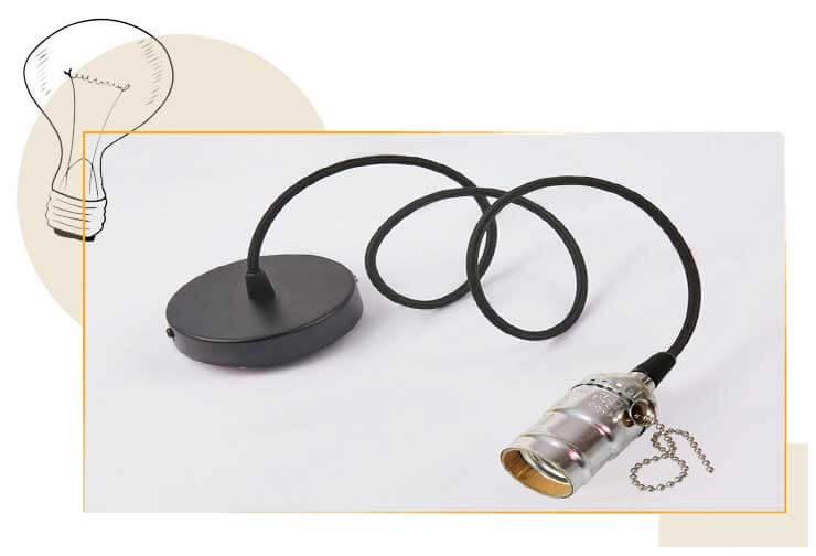 Douille E27 couleur gris antique avec interrupteur à chaInette