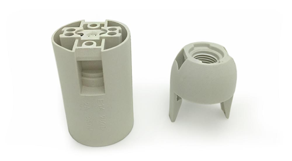 Douille plastique blanc lisse pour ampoule à culot E12