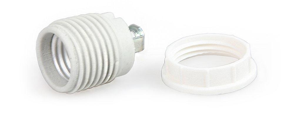 Douille en porcelaine  E27 avec bague filetée et support M10