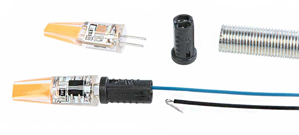 Mini culot G4 bakélite avec connection auto-grip sur fil dénudé