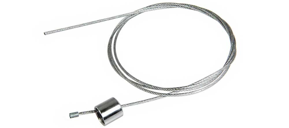 Borne en acier chromée filetée M10 pour passage de câble de suspension