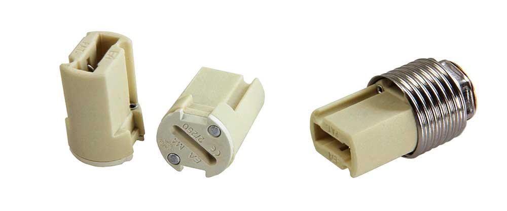 Culot de lampe G9 en porcelaine pour douille en acier chromé M20.8mm
