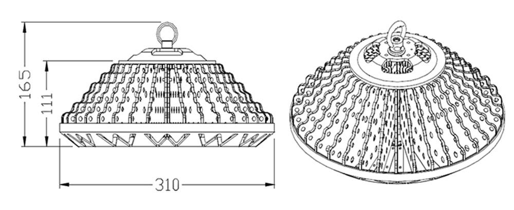 High Bay AC LED 150 watts dimension