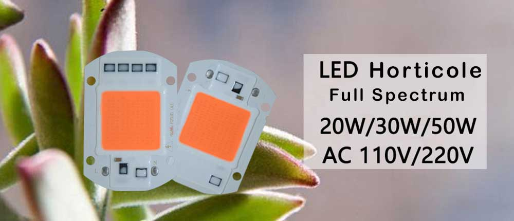 LED horticole full spectre AC LED COB de 20 watts alimentation 230 volts