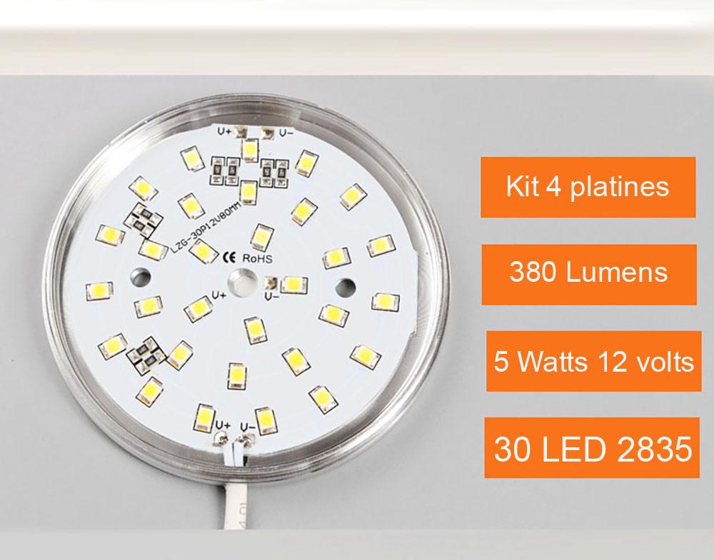 Kit 4 Panels LED ultra plat pour l'éclairage d'étagère, d'armoire