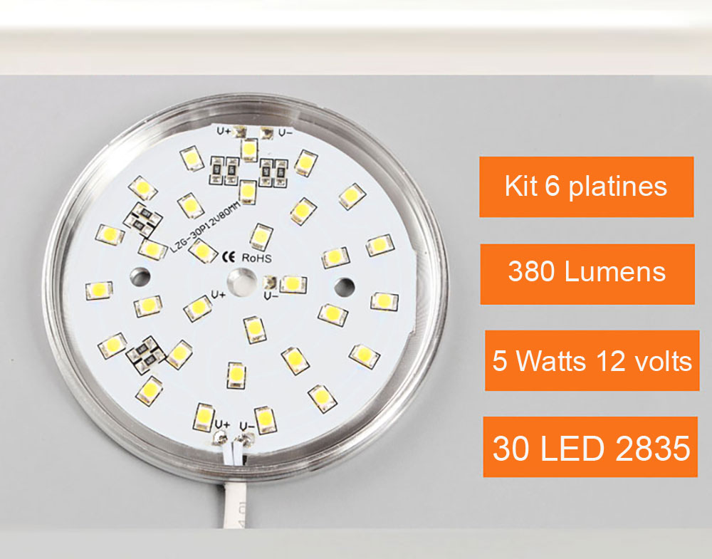 Kit 6 Panels LED ultra plat pour l'éclairage d'étagère, d'armoire