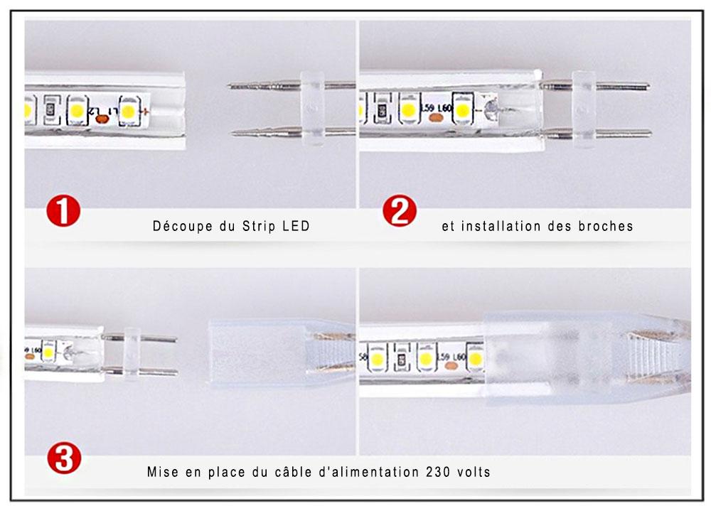Mise en place du câble d'alimentation strip LED