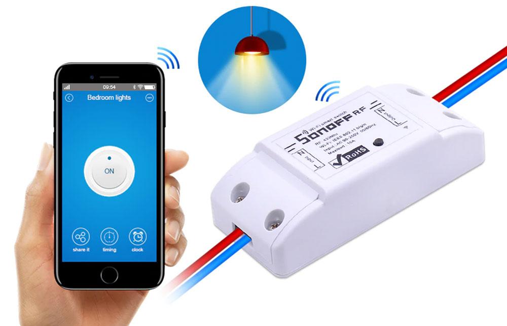 Boitier commutateur Sonoff programmable avec contrôle radio fréquence ou Wifi IN