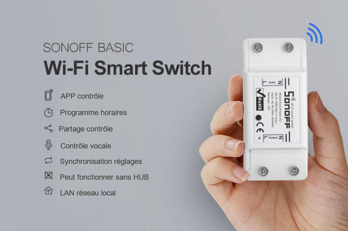 Boitier commutateur Sonoff programmable avec contrôle radio fréquence ou Wifi