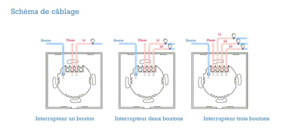 Interrupteur tactile Sonoff cablage