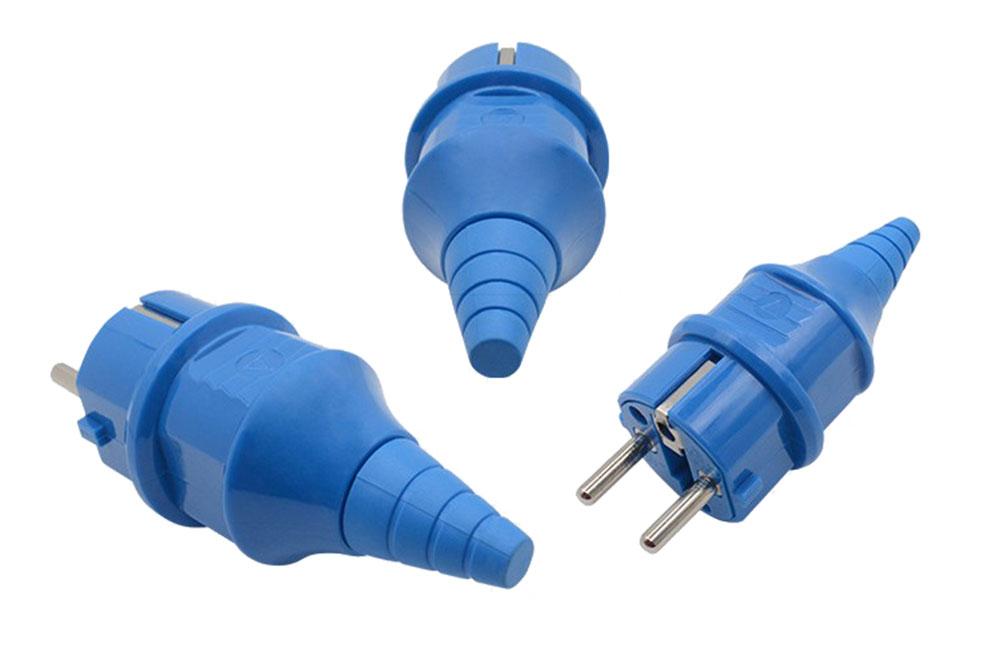 Fiche ou prise mâle 230 volts 2 P + Terre bleu