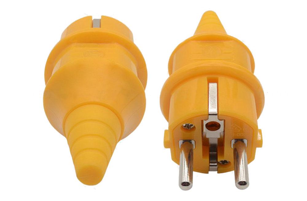 Fiche ou prise mâle 230 volts 2 P + Terre orange