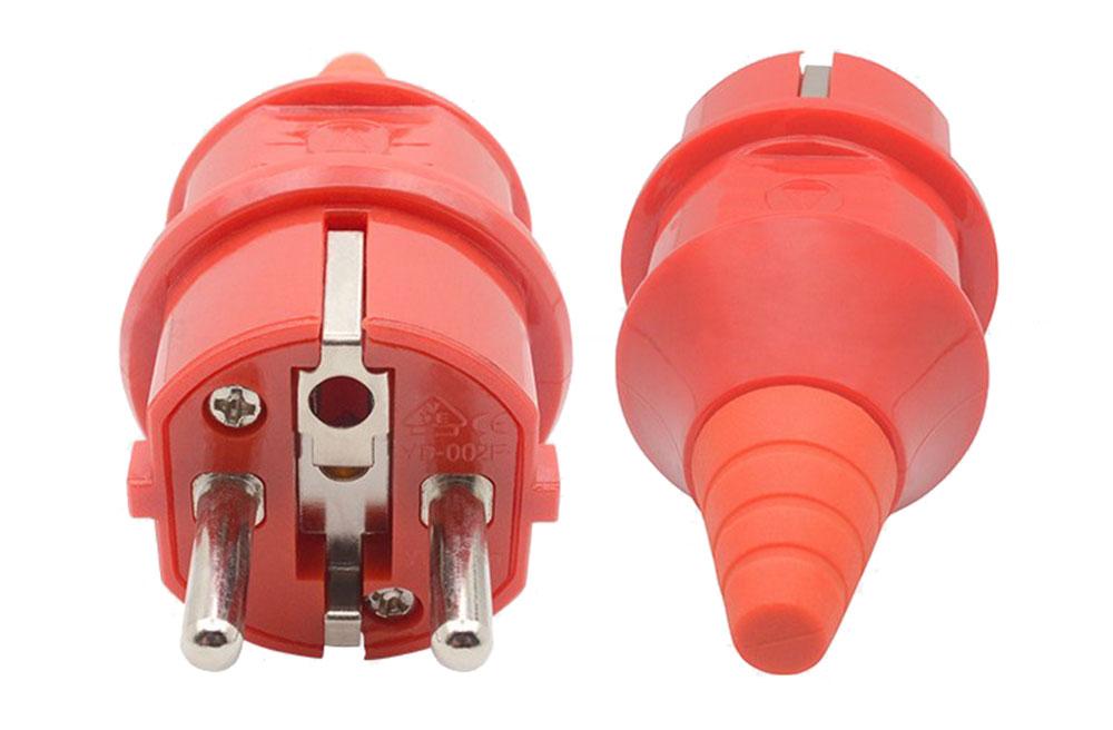 Fiche ou prise mâle 230 volts 2 P + Terre rouge